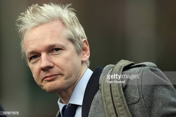 Wikileaks founder Julian Assange appears at Belmarsh Magistrates court on January 11 2011 in London England Mr Assange is appearing in court today to...