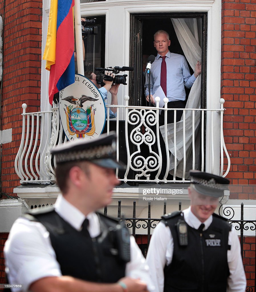 Wikileaks founder Julian Assange is seen on the balcony of the Equador embassy in Knightsbridge on August 19 2012 in London England Mr Assange is...