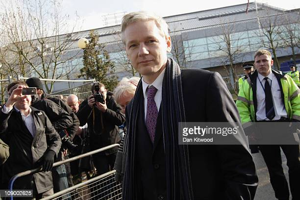 WikiLeaks founder Julian Assange leavs Belmarsh Magistrates Court on February 11 2011 in London England Mr Assange was returning today to make his...