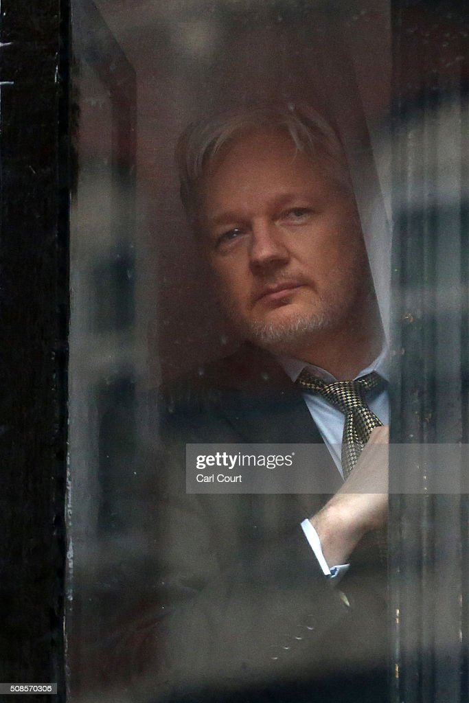 Wikileaks founder Julian Assange prepares to speak from the balcony of the Ecuadorian embassy where he continues to seek asylum following an extradition request from Sweden in 2012, on February 5, 2016 in London, England. The United Nations Working Group on Arbitrary Detention has insisted that Mr Assange's detention should be brought to an end.