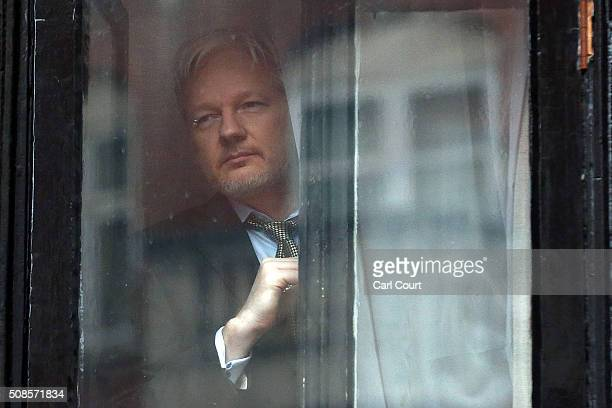 Wikileaks founder Julian Assange prepares to speak from the balcony of the Ecuadorian embassy where he continues to seek asylum following an...