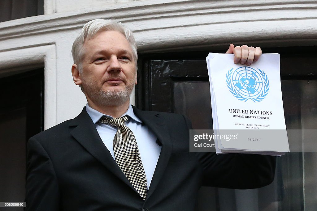 Wikileaks founder <a gi-track='captionPersonalityLinkClicked' href=/galleries/search?phrase=Julian+Assange&family=editorial&specificpeople=7117000 ng-click='$event.stopPropagation()'>Julian Assange</a> speaks from the balcony of the Ecuadorian embassy where he continues to seek asylum following an extradition request from Sweden in 2012, on February 5, 2016 in London, England. The United Nations Working Group on Arbitrary Detention has insisted that Mr Assange's detention should be brought to an end.