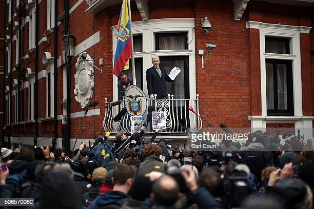 Wikileaks founder Julian Assange speaks from the balcony of the Ecuadorian embassy where he continues to seek asylum following an extradition request...