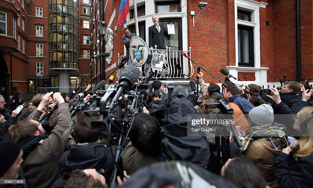 Wikileaks founder Julian Assange speaks from the balcony of the Ecuadorian embassy where he continues to seek asylum following an extradition request from Sweden in 2012, on February 5, 2016 in London, England. The United Nations Working Group on Arbitrary Detention has insisted that Mr Assange's detention should be brought to an end.