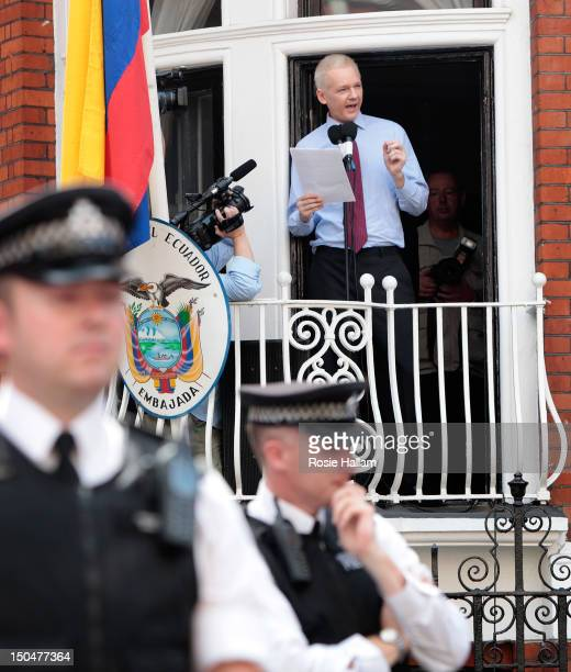 Wikileaks founder Julian Assange speaks from the balcony of the Equador embassy in Knightsbridge on August 19 2012 in London England Mr Assange is...
