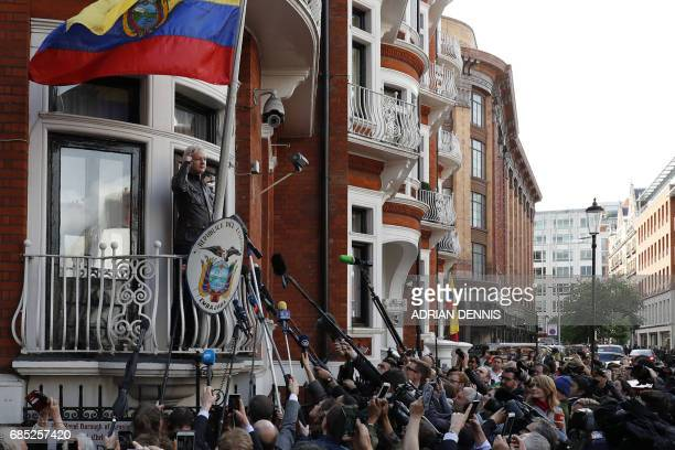 Wikileaks founder Julian Assange speaks on the balcony of the Embassy of Ecuador in London on May 19 2017 Ecuador urged Britain today to 'grant safe...