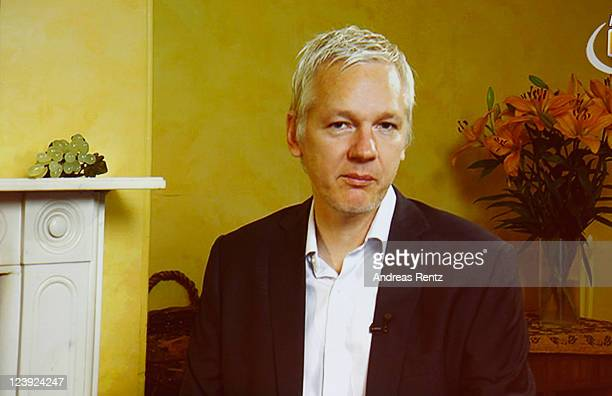 Wikileaks founder Julian Assange speaks to participants at the IFA 2011 Media Week via a live satellite broadcast on September 6 2011 in Berlin...