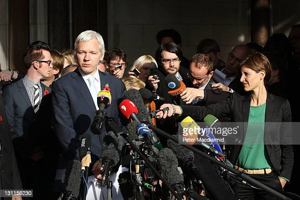 WikiLeaks founder Julian Assange talks to members of the media as he leaves The High Court on November 2 2011 in London England Mr Assange has failed...