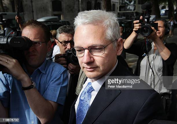 WikiLeaks website founder Julian Assange arrives at The High Court on July 12 2011 in London England Mr Assange is appealing against his extradition...