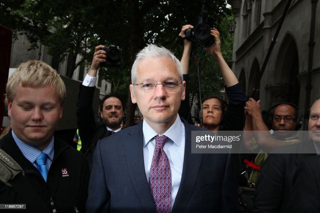 WikiLeaks website founder <a gi-track='captionPersonalityLinkClicked' href=/galleries/search?phrase=Julian+Assange&family=editorial&specificpeople=7117000 ng-click='$event.stopPropagation()'>Julian Assange</a> arrives at The High Court on July 13, 2011 in London, England. Mr Assange is appealing against his extradition to Sweden over sexual assault allegations.