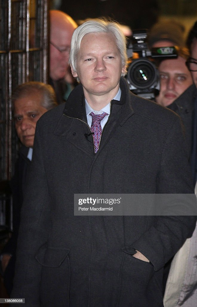 Wikileaks website founder <a gi-track='captionPersonalityLinkClicked' href=/galleries/search?phrase=Julian+Assange&family=editorial&specificpeople=7117000 ng-click='$event.stopPropagation()'>Julian Assange</a> leaves The Supreme Court on February 2, 2012 in London, England. Mr Assange is appearing in court for his final appeal against his extradition to Sweden, where he is sought for questioning over alleged sex crimes.
