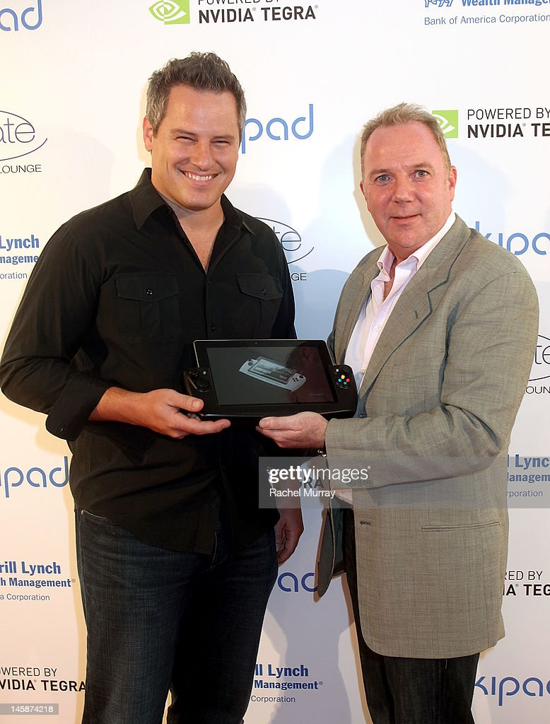 Wikipad CEO, James Bower (L) and WikiPad President of Sales, Fraser Townley attend the VIP red carpet cocktail party hosted by WIKIPAD and NVIDIA as part of the celebrations for E3, 2012 held at Elevate Lounge on June 6, 2012 in Los Angeles, California.