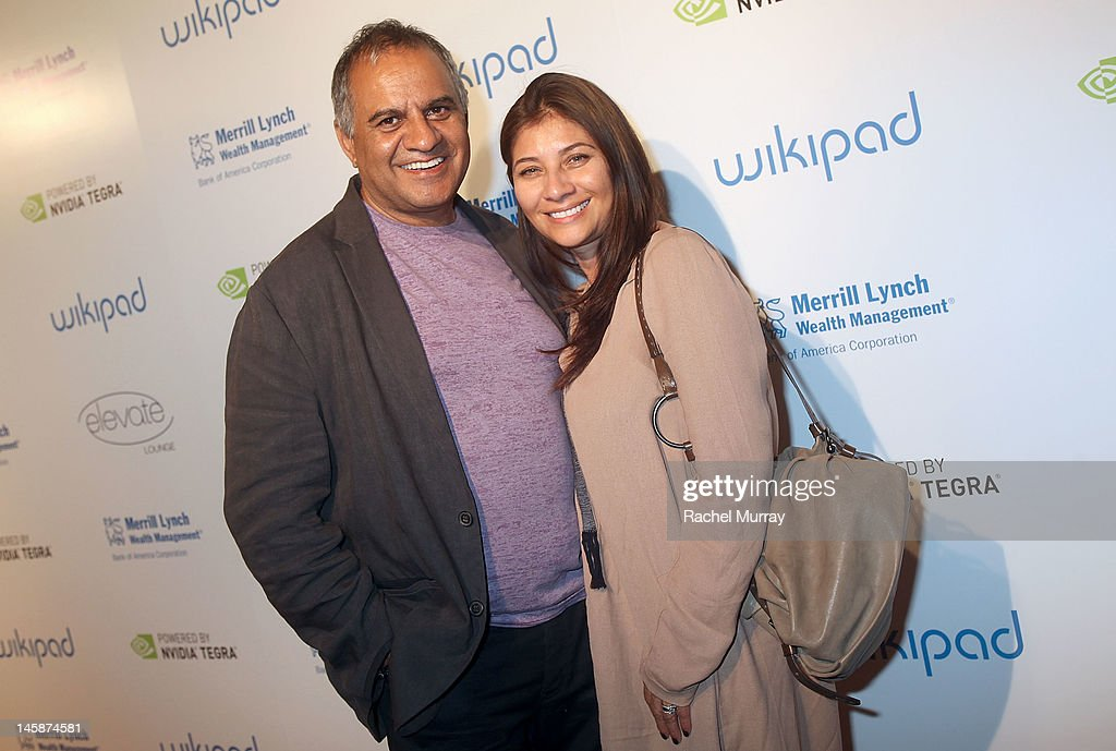 Wikipad designer Ravi Sawhney (L) and guest attend the VIP red carpet cocktail party hosted by WIKIPAD and NVIDIA as part of the celebrations for E3, 2012 held at Elevate Lounge on June 6, 2012 in Los Angeles, California.