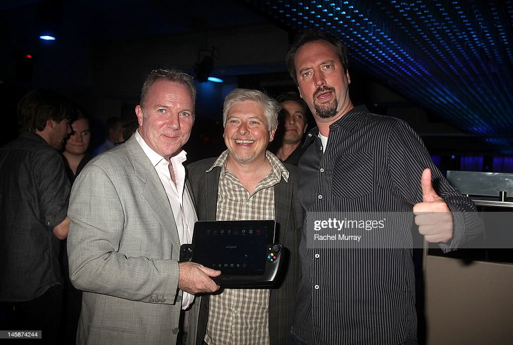 WikiPad President of Sales, Fraser Townley, actors Dave Foley, and Tom Green attend the VIP red carpet cocktail party hosted by WIKIPAD and NVIDIA as part of the celebrations for E3, 2012 held at Elevate Lounge on June 6, 2012 in Los Angeles, California.