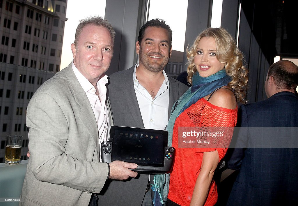WikiPad President of Sales, Fraser Townley, Founder of Seven Artist Management, Tim Ranson and actress Estella Warren attend the VIP red carpet cocktail party hosted by WIKIPAD and NVIDIA as part of the celebrations for E3,2012 held at Elevate Lounge on June 6, 2012 in Los Angeles, California.