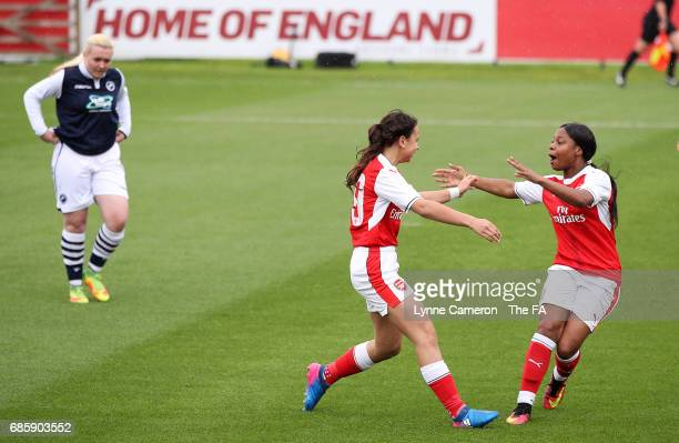 Wiktoria Kiszkis of Arsenal Ladies celebrates scoring the opening goal during the FA Girls' Youth Cup Final between Millwall Lionesses U16 Vs Arsenal...