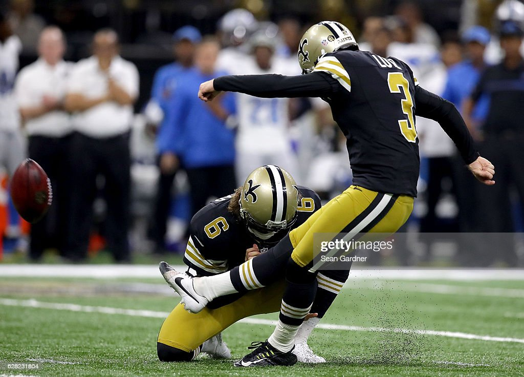 ... Wil Lutz 3 of the New Orleans Saints kicks a field goal against the  Detroit ... 746f0cf3c