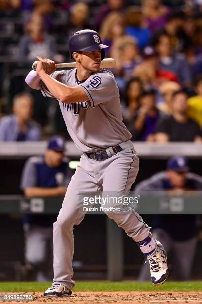 Wil Myers of the San Diego Padres bats against the Colorado Rockies in the fourth inning of a game at Coors Field on September 15 2017 in Denver...