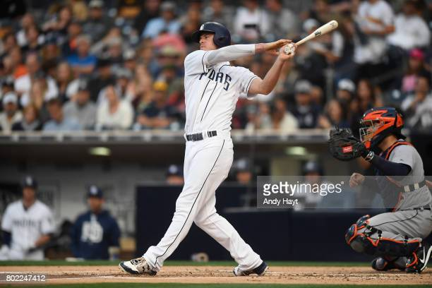 Wil Myers of the San Diego Padres bats during the game against the Detroit Tigers at PETCO Park on June 24 2017 in San Diego California