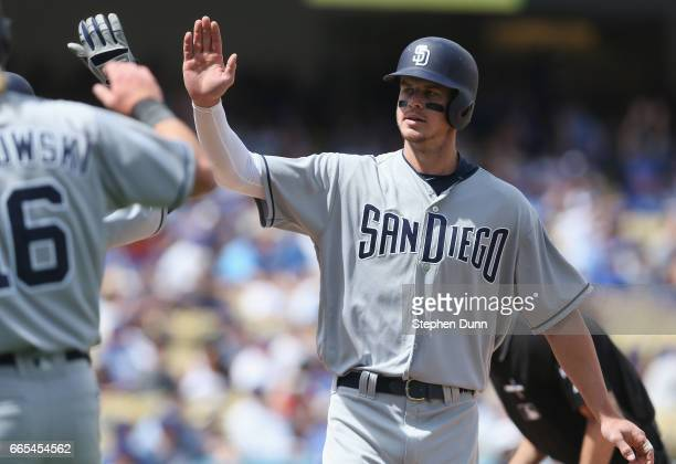 Wil Myers of the San Diego Padres celebrates after hitting a two run home run in the sixth inning against the Los Angeles Dodgers at Dodger Stadium...