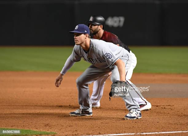 Wil Myers of the San Diego Padres gets ready to make a play at first base against the Arizona Diamondbacks at Chase Field on September 9 2017 in...