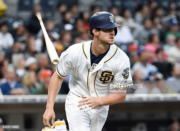 Wil Myers of the San Diego Padres hits a solo home run during the first inning of a baseball game against the Miami Marlins at PETCO Park on June 13...
