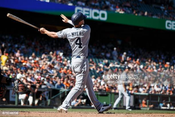 Wil Myers of the San Diego Padres hits a three run home run against the San Francisco Giants during the twelfth inning at ATT Park on April 30 2017...