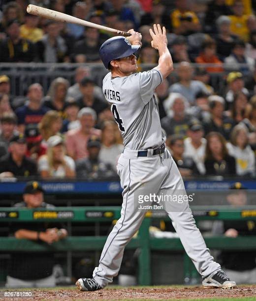 Wil Myers of the San Diego Padres hits a two run home run to center field in the fifth inning during the game against the Pittsburgh Pirates at PNC...