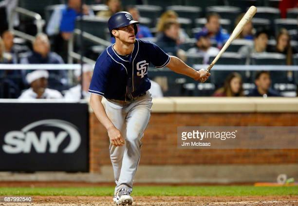 Wil Myers of the San Diego Padres hits a tworun single against the New York Mets at Citi Field on May 24 2017 in the Flushing neighborhood of the...