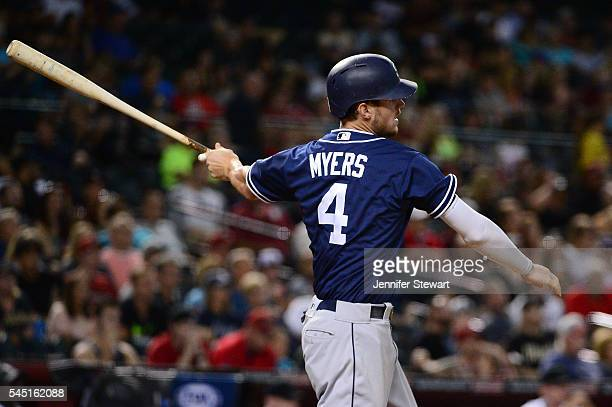 Wil Myers of the San Diego Padres hits an RBI triple during the third inning against the Arizona Diamondbacks at Chase Field on July 5 2016 in...
