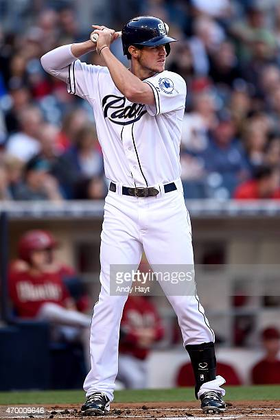 Wil Myers of the San Diego Padres hits during the game against the Arizona Diamondbacks at Petco Park on April 15 2015 in San Diego California