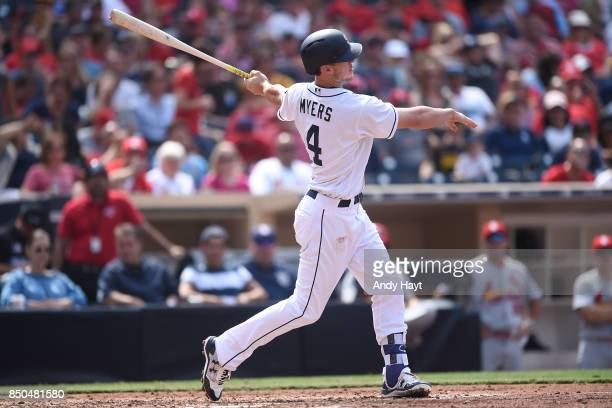 Wil Myers of the San Diego Padres hits during the game against the St Louis Cardinals at Petco Park on September 4 2017 in San Diego California