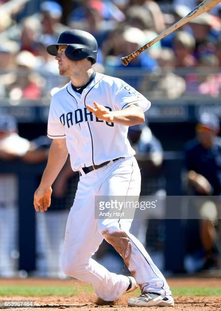 Wil Myers of the San Diego Padres hits during the spring training game against the Chicago Cubs at the Peoria Sports Complex on March 13 2017 in...