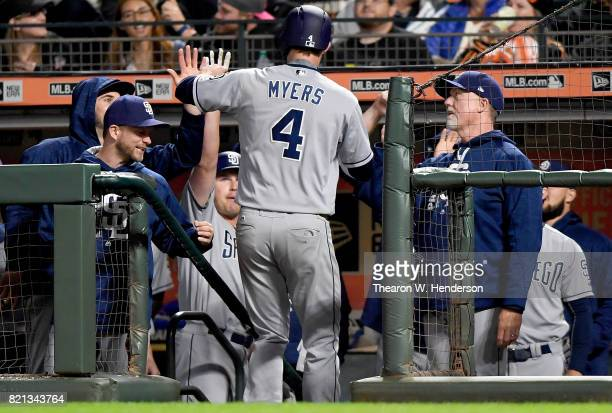 Wil Myers of the San Diego Padres is congratulated by teammates after Myers hit a solo home run against the San Francisco Giants in the top of the...
