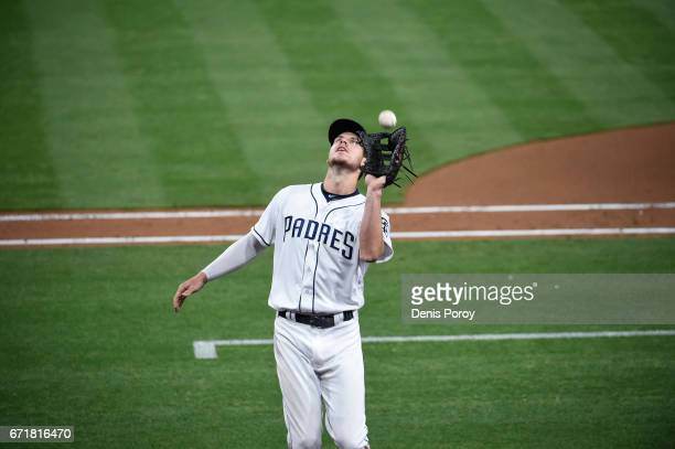 Wil Myers of the San Diego Padres plays during a baseball game against the Arizona Diamondbacks at PETCO Park on April 19 2017 in San Diego California