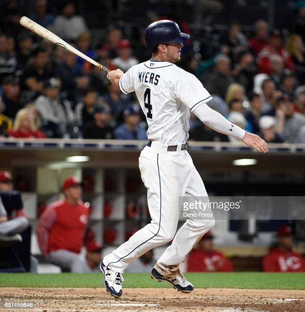 Wil Myers of the San Diego Padres plays during a baseball game against the Cincinnati Reds at PETCO Park on June 12 2017 in San Diego California