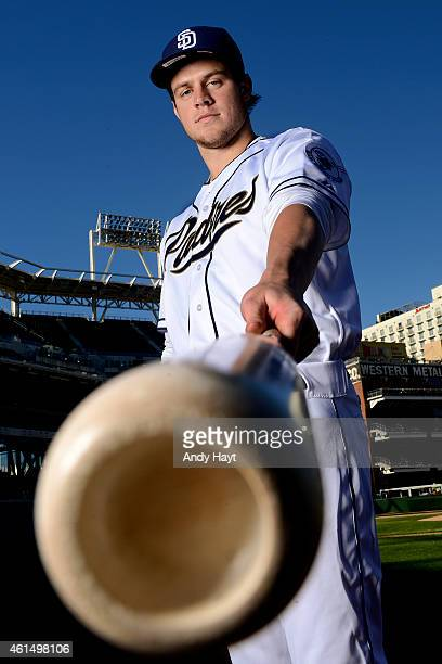 Wil Myers of the San Diego Padres poses for photographs at Petco Park on January 6 2015 in San Diego California