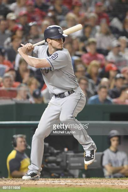 Wil Myers of the San Diego Padres prepares for a pitch during a baseball game against the Washington Nationals at Nationals Park on May 26 2017 in...