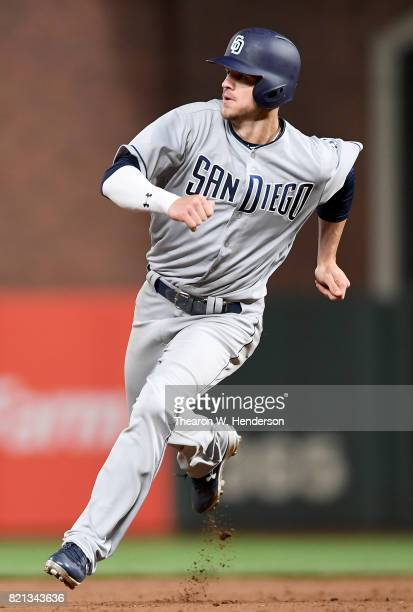 Wil Myers of the San Diego Padres runs the bases against the San Francisco Giants in the top of the fifth inning at ATT Park on July 21 2017 in San...
