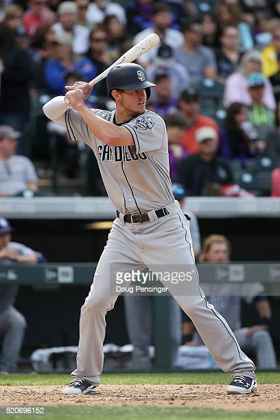 Wil Myers of the San Diego Padres takes an at bat against the Colorado Rockies at Coors Field on April 10 2016 in Denver Colorado The Rockies...