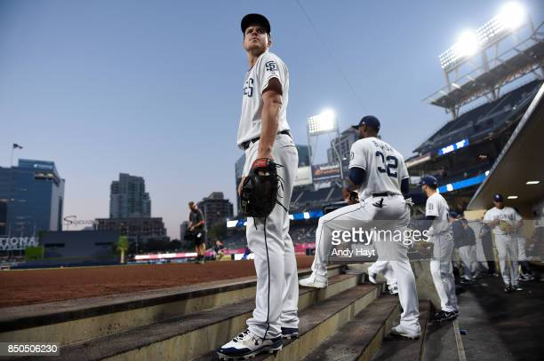 Wil Myers of the San Diego Padres waits for the start of the game against the St Louis Cardinals at Petco Park on September 6 2017 in San Diego...
