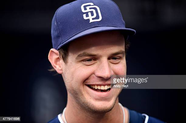 Wil Myers of the San Diego Padres waits in the dugout for the start of the game against the Los Angeles Dodgers at Petco Park on June 13 2015 in San...