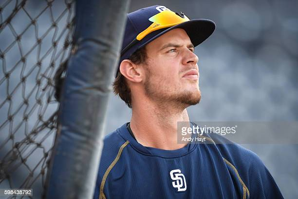 Wil Myers of the San Diego Padres waits to hit during batting practice prior to the game against the Arizona Diamondbacks at PETCO Park on August 19...
