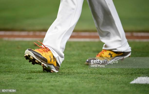 Wil Myers of the San Diego Padres wears his Under Armour cleats during a baseball game against the Pittsburgh Pirates at PETCO Park on July 28 2017...