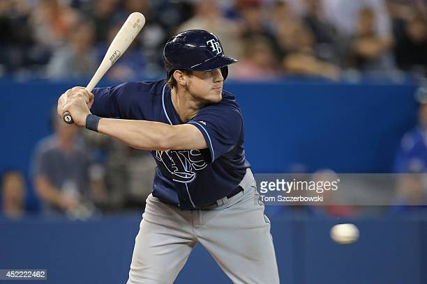 Wil Myers of the Tampa Bay Rays avoids an inside pitch during MLB game action against the Toronto Blue Jays on May 28 2014 at Rogers Centre in...