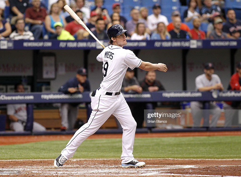<a gi-track='captionPersonalityLinkClicked' href=/galleries/search?phrase=Wil+Myers&family=editorial&specificpeople=7562808 ng-click='$event.stopPropagation()'>Wil Myers</a> #9 of the Tampa Bay Rays follows through as he hits a double off of pitcher Rubby De La Rosa #62 of the Boston Red Sox to score Ryan Hanigan during the third inning of a game on September 1, 2014 at Tropicana Field in St. Petersburg, Florida.