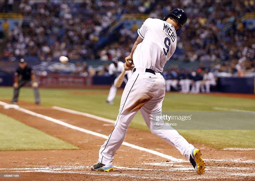 <a gi-track='captionPersonalityLinkClicked' href=/galleries/search?phrase=Wil+Myers&family=editorial&specificpeople=7562808 ng-click='$event.stopPropagation()'>Wil Myers</a> #9 of the Tampa Bay Rays hits a three-run home run during the fifth inning of a game against the New York Yankees on April 19, 2014 at Tropicana Field in St. Petersburg, Florida.