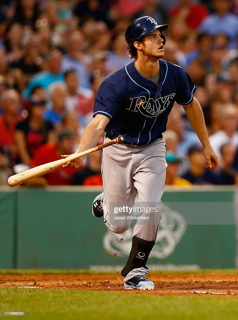 Wil Myers #9 of the Tampa Bay Rays hits a two-run single in the third inning against the Boston Red Sox during the game on July 24, 2013 at Fenway Park in Boston, Massachusetts.