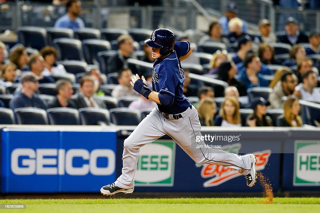 Wil Myers #9 of the Tampa Bay Rays in action against the New York Yankees at Yankee Stadium on September 26, 2013 in the Bronx borough of New York City. The Rays defeated the Yankees 4-0.