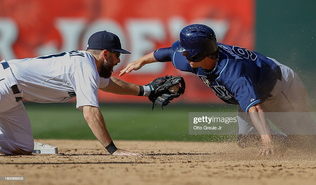 <a gi-track='captionPersonalityLinkClicked' href=/galleries/search?phrase=Wil+Myers&family=editorial&specificpeople=7562808 ng-click='$event.stopPropagation()'>Wil Myers</a> #9 of the Tampa Bay Rays is tagged out on a steal attempt by second baseman <a gi-track='captionPersonalityLinkClicked' href=/galleries/search?phrase=Dustin+Ackley&family=editorial&specificpeople=4352278 ng-click='$event.stopPropagation()'>Dustin Ackley</a> #13 of the Seattle Mariners in the ninth inning at Safeco Field on September 8, 2013 in Seattle, Washington. The Rays defeated the Mariners 4-1.